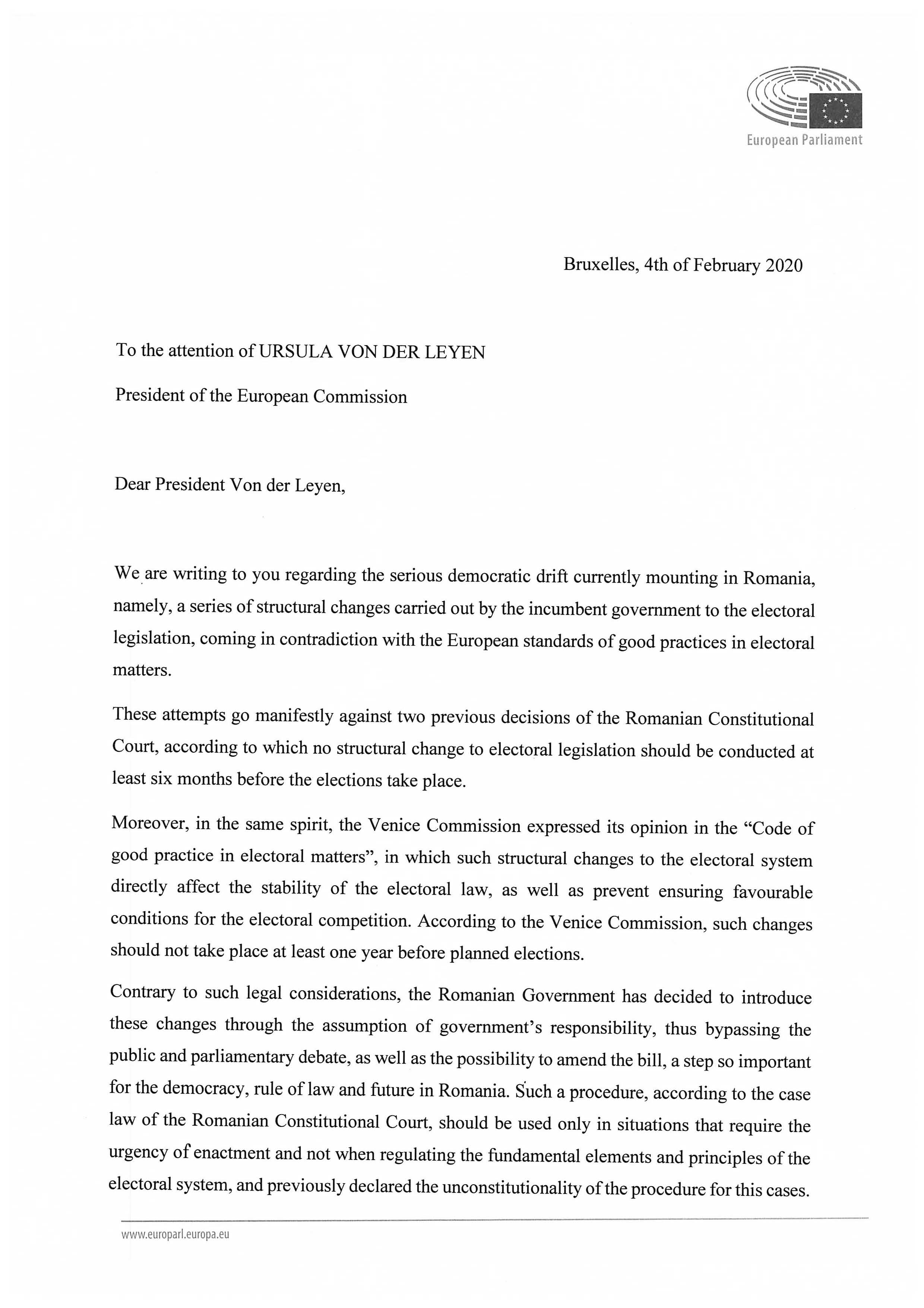 Letter President Von der Leyen Rule of Law Page 1