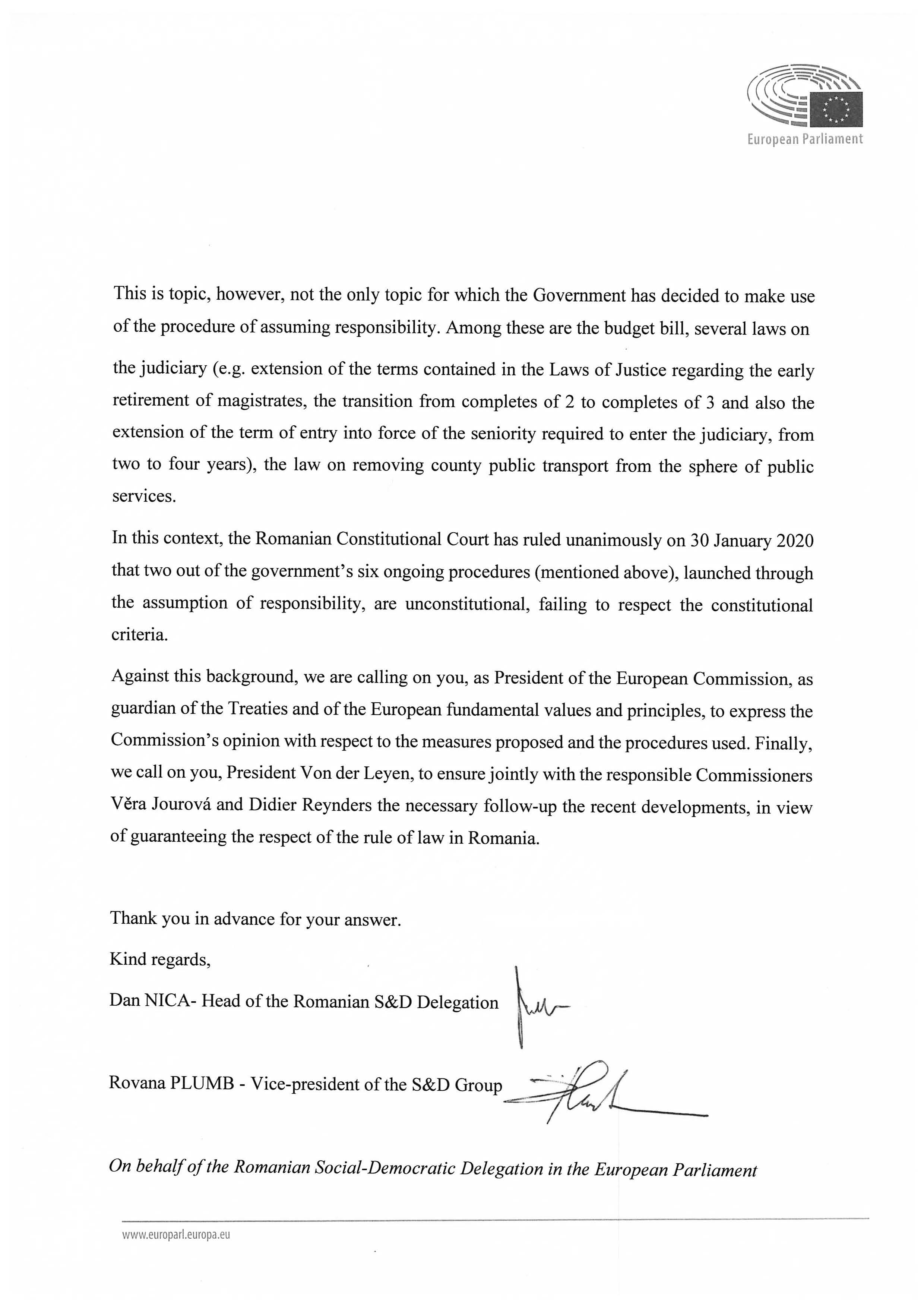 Letter President Von der Leyen Rule of Law Page 2